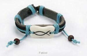product afbeelding voor: Armband blauw leder met vis